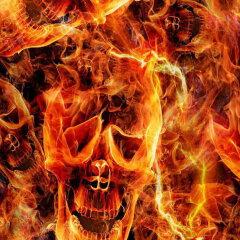 Flammen mit Totenkopf Design WT-1714H in 100 cm Breite